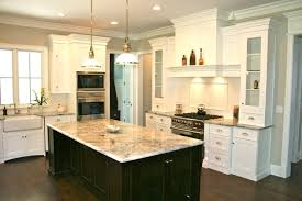 white kitchen dark wood floor. Dark Kitchen Cabinets With White Center Island Wood Floor I