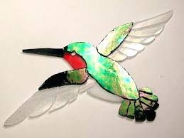 stained glass stained glass hummingbirds stain hummingbird rose cut art mosaic inlay garden stone 4