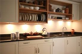 painted shaker kitchen with oak shelves and plate rack uba tuba granite worktops with drainer