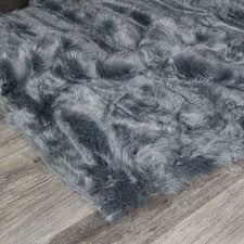 extra large grey faux fur rug 160cm x 230cm