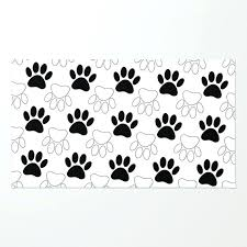 paw print rug black and white dog paw print pattern rug dog paw print area rugs