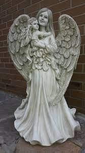 large angel and cherub garden statue