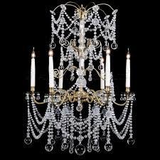 a cut glass and gilt bronze six light chandelier