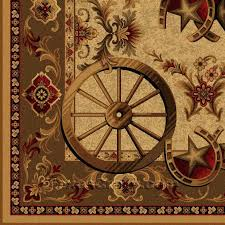 western wagon wheel 5 x 8 area rug