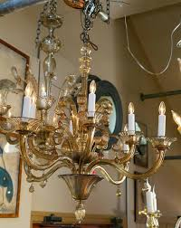 large tea colored or amber murano glass chandelier with glass scrolls and glass drops eight