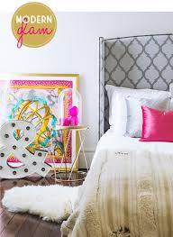Modern Glam Bedroom Lotus Fig In Print Bold Color
