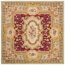 savonnerie red ivory 6 ft x 6 ft square area rug