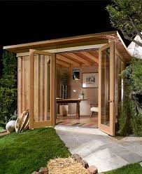 shed home office. at first it looks like a regular backyard shed but just wait until you see whatu0027s inside home office