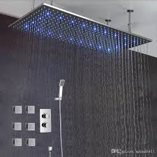 rain shower head. Exellent Rain 2018 Luxury Bathroom Ceiling Led Rain Shower Set 50100cm Brushed Big Rainfall  Head 3 Ways Thermostatic Mixer Brass From Setsail411  For C