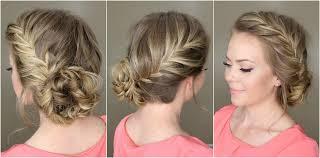 French Braid Updo Hairstyles Fishtail French Braid Braided Bun Youtube