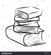 stack of five books cartoon vector and ilration black and white hand drawn