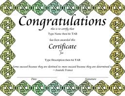 congratulations certificate templates award certificate templates