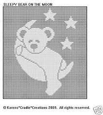 SLEEPY <b>BEAR</b> ON THE <b>MOON</b> Pattern FILET CROCHET | Polštářky ...