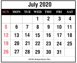 Calendar July 2020 Printable Free July 2020 Printable Calendar Templates Pdf Excel
