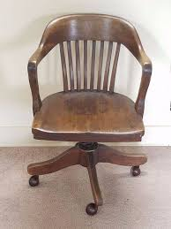 wooden swivel office chair. vintage antique barrel oak wood swivel office bankers library desk arm chair 20s wooden s