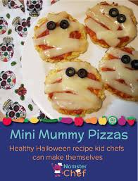 If they are new to the kitchen, start with supervising more difficult tasks, and as they get older you can continue to do less. Nomster Chef Halloween Recipe For Kids Mini Mummy Pizzas Fun Food Recipes For Kids To Make For Healthy Eating