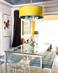table with bench and chairs. love this statement-making crystal-tipped teal and yellow pendant light paired with the table bench chairs