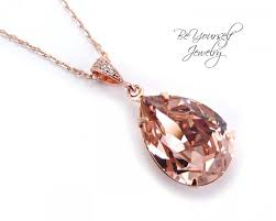bridal necklace swarovski crystal soft pink teardrop bride necklace rose gold blush wedding pendant vintage rose bridesmaid wedding jewelry