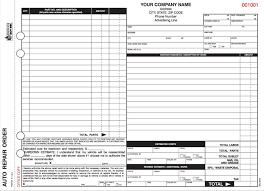 auto repair forms 8 1 2 x 11 california auto repair order