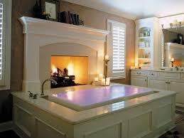 lavish bathroom with large fireplace