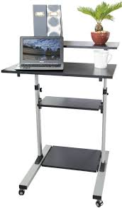 vivo mobile height adjule stand up desk computer work station presentation cart cart v02d com