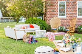 step inside this colorful outdoor bohemian thirtieth birthday party full of color lush garden