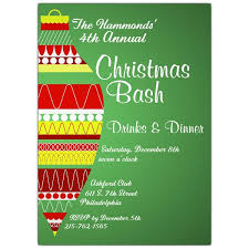 Modern Ornament Green Holiday Party Invitations Paperstyle