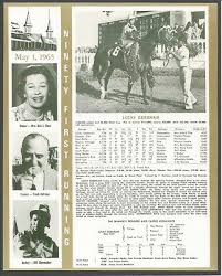 Kentucky Derby Race Chart 1965 Lucky Debonair Kentucky Derby Wc Race Chart