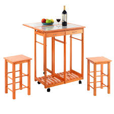 home rolling kitchen island trolley cart drop leaf table w 2 stools breakfast us