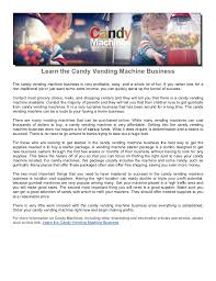 Vending Machine Business Profits Enchanting Learn The Candy Vending Machine Business
