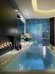 calderin blue mosaic master bath infinity tub romantic bathroom