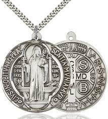 sterling silver saint benedict pendant