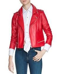 <b>Maje Jacket</b> - Basalt Leather Biker   Leather jacket   Капюшоны
