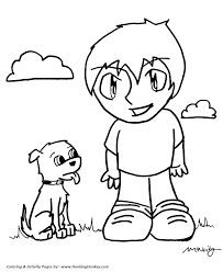 Small Picture Anime Coloring Pages Boy and his Dog Anime Coloring Page and