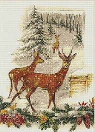 Christmas Deer In Sepia Counted Cross Stitch Pattern 2029 Holidays Graph Chart Ebay