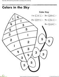 Small Picture Color by Number Kite Worksheet Educationcom