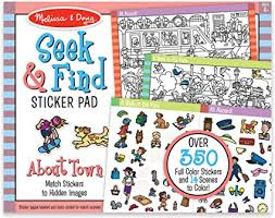 You can try searching again or browse by department. Amazon Com Melissa Doug Seek And Find Sticker Pad Around Town Toys Games