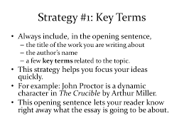 introductory paragraphs an introductory paragraph is  strategy 1 key terms always include in the opening sentence the