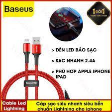 CHÍNH HÃNG] Cáp Sạc Nhanh 2.4A Baseus Halo Data Cable USB To Lightning Có  Đèn LED Cho Iphone XS Max XR X 8 7 6 6S 5 5S