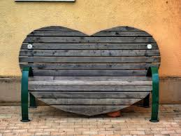 table wood bench chair seat sitting furniture heart shape bank shape man made object