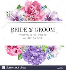 Wedding Card Design Wedding Invitation Card Design With Flowers In Watercolor Style On