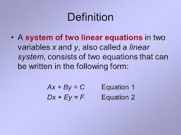 2 definition a system of two linear equations in two variables x and y