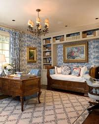 home office dark blue gallery wall. Dark Blue Bookcase Home Office Mediterranean With Wood Floor Patterned Wallpaper Curtain Gallery Wall