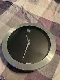 movado wall clock black silver rare