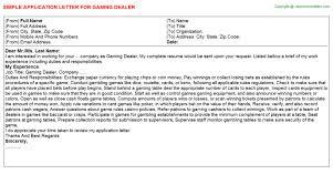 Application Letter Casino Dealer Simple Resume Casino Dealer