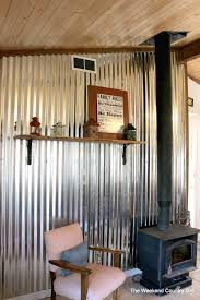 diy corrugated tin metal sheet wall the weekend country girl featured on remodelaholic