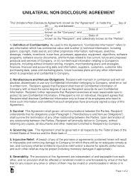 Standard Nda Agreement Template Unilateral 1 Way Non Disclosure Agreement Nda Template