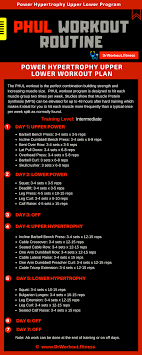 5 Day Workout Chart Power Hypertrophy Upper Lower Phul Workout Routine Dr