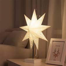 Led Bureaulamp Tafellamp Papier Ster Hout Lamp Nordic Ontwerp Van
