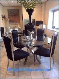 glass chrome cross leg dining table set 4 black chairs room tables with bench round